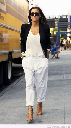 White pants, top and black blazer for office