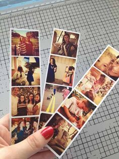 "Using Photoshop make a ""template"" for the Photo strip. what you see here is 1.5 inches by 6 inches.This is such a great idea using your instagram pics must try..."
