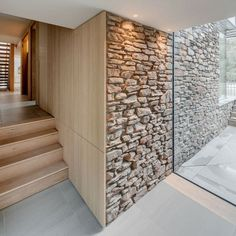 Zuhause A glass link was installed to this property, Old Quay, to allow an ingress of natural light Timber Cladding, Wall Cladding, Wooden Cladding Exterior, Stone Interior, Home Interior Design, Modern Properties, Glass Extension, Timber Architecture, Architecture Today