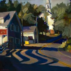 chasingtailfeathers:    Connie Hayes   The Curves, East Boothbay   Oil on canvas  (I like the smell of rubber hitting the road.)