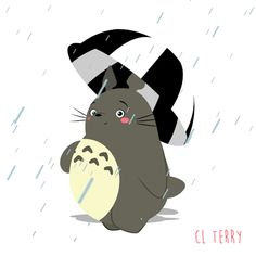 Анимация Totoro / Тоторо из аниме Tonari no Totoro / Мой сосед Тоторо, by CL Terry, идет в дождь под зонтом