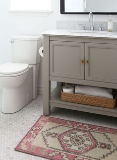 A Boring Builder Bathroom Gets a Budget-Friendly Makeover - The Home Depot Blog