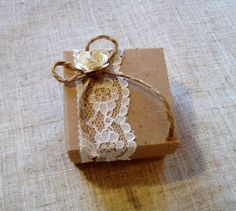 Rustic style wedding favour box with lace and paper rose! www.quillsweddingstationery.co.uk