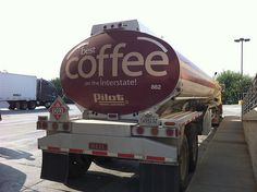 Pilot trucks coffee in tankers. If you thought they brewed it in the gas stations, you're wrong. this is a gas tanker. Pilot just advertises their coffee this way [grin]. Coffee Truck, Coffee Cafe, Coffee Humor, Coffee Quotes, Coffee Shop, Coffee Lovers, Coffee Is Life, I Love Coffee, My Coffee