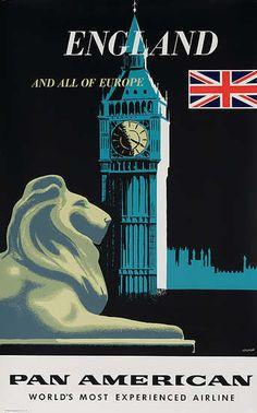 England  1960's Pan Am ad  Artist; Amspoker