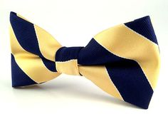 Mens Yellow Navy Blue Stripes Bow Tie. Pre-Tied Bow by AristoTIES