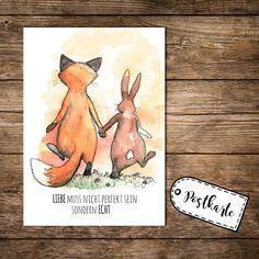 Wohnaccessoires - Postkarte postcard Print Fuchs und Hase Liebe p37 - ein Designerstück von IlkaParey bei DaWanda