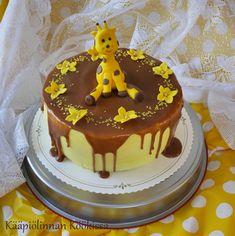 Kääpiölinnan köökissä: Pienen tytön kirahvikakku ♥ Mango-passion-kinuskikakku Beautiful Cakes, Amazing Cakes, Food Humor, Funny Food, Birthday Parties, Birthday Cakes, Drip Cakes, Baby Shower Cakes, Cake Art