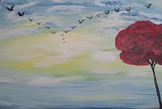 Flight Formation Acrylic on Canvas by JustPeachyLifeGifts on Etsy, $50.00