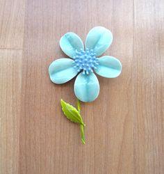 Vintage aqua enamel flower brooch by lolatrail on Etsy