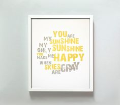 You Are My Sunshine print by GusAndLula on Etsy