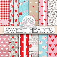 "Hearts digital paper: SWEET HEARTS"" with heart pattern, heart scrapbook paper in red, pink, white for scrapbooking, cards, valentine #romantic #pink #shabbychic #digitalpaper #wedding #shabby #scrapbookpaper"