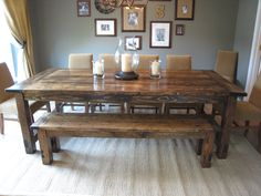 About Farmhouse Dining Table With Bench Decorating Interior With Millions Images As Ideas . Find Farmhouse Dining Table With Bench And Others About Table Here - Interior Home Design Farmhouse Dining Room Table, Farmhouse Bench, Modern Farmhouse, Rustic Table, Dining Rooms, Rustic Wood, Farmhouse Style, Vintage Farmhouse, Farmhouse Furniture