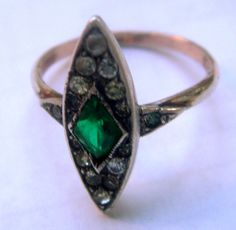 Ring Deco paste green silver gold Antique Germany от ODMIVINTAGE