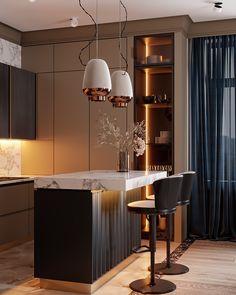 Industrial Kitchen Design, Luxury Kitchen Design, Kitchen Room Design, Home Room Design, Luxury Kitchens, Home Decor Kitchen, Home Decor Bedroom, Home Interior Design, Modern Apartment Design