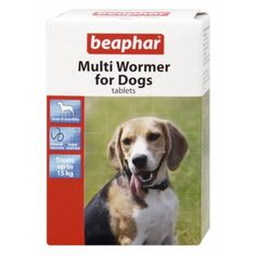 Treatment of roundworms and tapeworms in dogs over 6 months old.  Contains 2 types of tablets: one for the treatment of roundworms and the other against tapeworms, given over a three week period. Tablets may be taken whole or crushed and sprinkled into the dog's food.