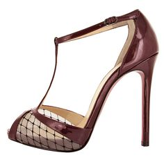 Christian Louboutin Brown Patent & Meash T-Strap Sandal #CL #Louboutin #Shoes