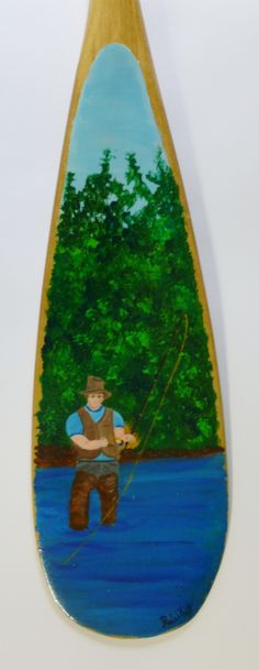 Fly Fishing; hand-painted canoe paddle Paddles, Canoe, Fly Fishing, Mermaids, Old Things, Craft Ideas, Hand Painted, Artists, Crafts