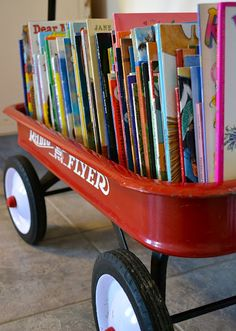 Wagon Book Storage- THIS for the radio flyer wagon I just inherited from my parents basement!