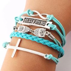 Cheap Best Friend Owl Cross Infinity Bracelets For Big Sale!Best Friend Owl Cross Infinity Bracelets is a perfect gift for your best friend! Cute Bracelets, Fashion Bracelets, Fashion Rings, Infinity Bracelets, Fashion Jewelry, Beaded Bracelets, Antique Bracelets, Bangles, Best Friend Bracelets