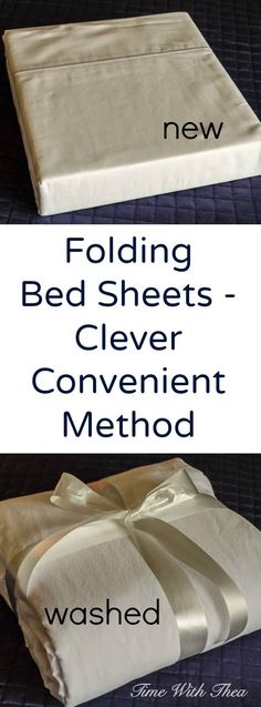 Folding Bed Sheets – Clever Convenient Method ~ Simple step-by-step photo…