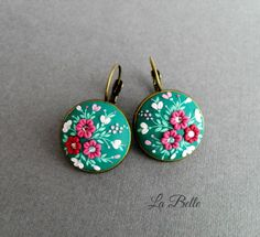 Filigree polymer clay EarringsFloral EmbroideryPolymer Clay