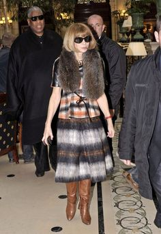 Anna Wintour Knee High Boots - Anna Wintour paired her earth tone ensemble with cognac leather knee high boots.