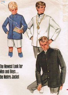 Butterick Pattern 5078 — Nehru Jacket The Nehru jacket is a hip-length tailored coat for men or women, with a mandarin collar, and with its front modeled on the South Asian achkan or sherwani, an apparel worn by Pandit Jawaharlal Nehru, the Prime Minister of India from 1947 to 1964.