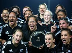 New Zealand's Black Ferns celebrate the series win over England