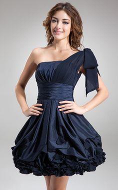 Forme Princesse Encolure asymétrique Court/Mini Mousseline Taffeta Robe de cocktail avec Plissé À ruban(s) (016008242)