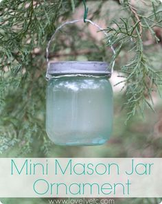 Make this adorable little blue mason jar ornament with a regular baby food jar!