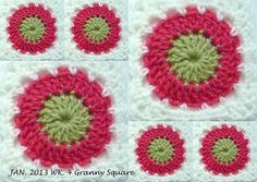 Another circle in square incl pattern from sue pinner PATTERN Ch 3, sl st into circle  Round 1: 16dc into circle, sl st to complete round (16sts)  Round 2: 2dc in each st, sl st to complete round (32sts)  Round 3: sc in space ch 3, repeat 15 more times, sl st, to complete (16 chain loops)  Round 4: Start in any chain space, 2dc,ch2,2dc, ch1, 2sc in next space, ch1,2sc in next space,ch1, 2sc in next space, ch1, repeat 3 more times (4corners and 4 sides)