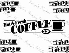 Hot & Fresh Coffee Sign Graphic Wood Furnture by GeorgesKitchen