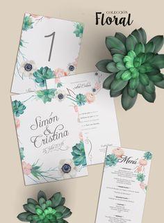 """Invitación de boda y papelería Colección Floral de la *Shop"""" Online de BubbleBu Wedding. ¿Te gustaría tener una invitación como esta? Consíguela en nuestra shop desde 2,92€/u"""