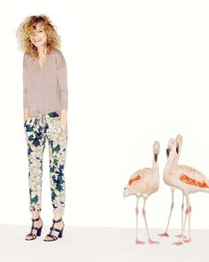 J.Crew linen sweater and drawstring pant in brushstroke floral. To preorder call 800 261 7422 or email erica@jcrew.com.