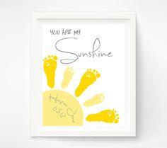 You Are My Sunshine Wall Art Print - Baby Footprint Sun - Gray & Yellow Nursery Art - Baby Wall Art - Nursery Decor. $30.00, via Etsy.