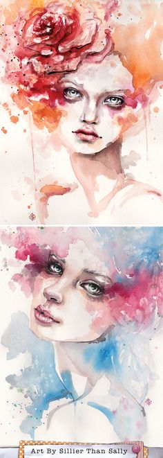 Stunning female portrait. Water colour art by sillier than sally. www.sillierthansally.com  Femme fatale. Flowers. Eyes.