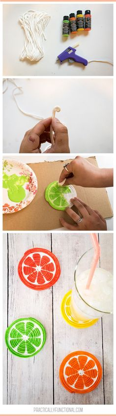 Simple and fun summer project: DIY Rope Coasters! These adorable citrus coasters are the perfect place to set your cold summer beverage.