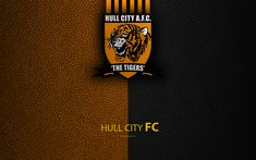 Download wallpapers Hull City FC, 4K, English Football Club, logo, Football League Championship, leather texture, Kingston upon Hull, UK, EFL, football, Second English Division