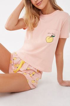 Lifes A Peach Graphic Pajama Set , Source by greenben_love Sets Cute Pajama Sets, Cute Pajamas, Pyjama Sets, Xmas Pajamas, Comfy Pajamas, Summer Pajamas, Pj Sets, Cute Sleepwear, Sleepwear Women