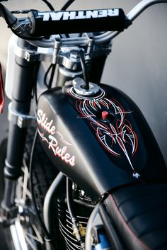 I pinned this because I really like custom motorcycles with pinstriping. It's not as common on cafe racers or scramblers, so that makes this bike unique. #CustomMotorcycle #PinStriping