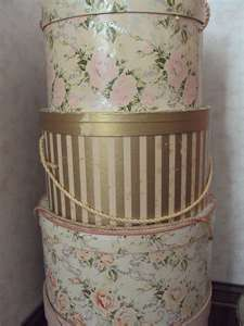 Vintage Wallpaper Hat Boxes ooo want. so pretty for housing ugly things