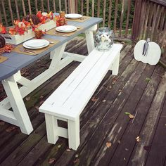 Fall Tablescape using the Shanty2Chic farmhouse table plans. Pumpkin and tray are by CleverGoose