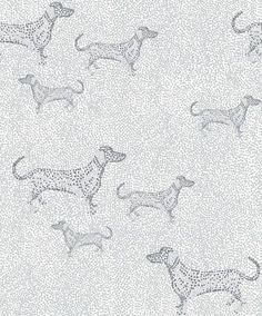The charming Mäyris wallpaper is designed by Matleena Issakainen for the brand Vallila. The wallpaper has an adorable dachshund pattern in grey is printed on a non-woven base to make it easier to paste on the wall. Grey Wallpaper, Animal Wallpaper, Pattern Wallpaper, Easy Up, Wallpaper Collection, Interior Design Gallery, Pointillism, Home Trends, Designers Guild