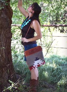 Handmade Purse.  Tooled leather top, Pendleton wool body and cross-body strap.  Custom order yours from Western Skies Handmade.