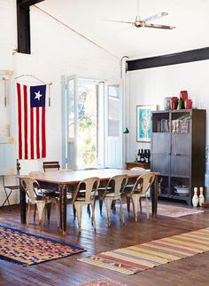 dining room. flag. Tolix chairs - desire to inspire - desiretoinspire.net