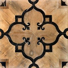 "The Vassalletti Craftsmen | ARO B101 Patented design tile inlaid in old oak and black marble ""Black Gold"", natural finish, wax on our patented design ""Aron""."