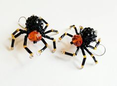 Halloween Spider Earrings Orange & Black