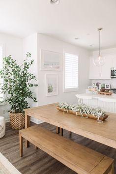 PURE SALT INTERIORS // ESENCIA PROJECT // KITCHEN // farm house table, basket, cake stand, airplants, glass pendants...