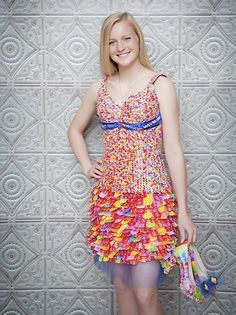 dress and shoes made entirely out of starburst wrappers